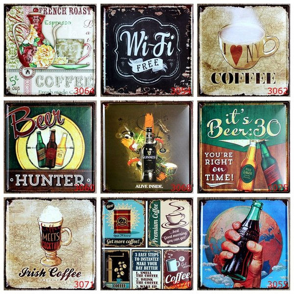 Beer Hunter License Plates Tin Poster Coffee Meets Cocktail 30X30 CM Metal Tin Signs Medium Sized Iron Paintings Wifi Free 9 99rjP