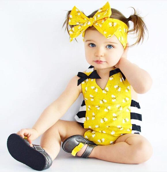 Baby Girls Yellow Bee Rompers with Headband Baby 2017 Latest Summer Boutique Clothing Hot Sale Infant Girls Clothing Toddlers Jumpsuits