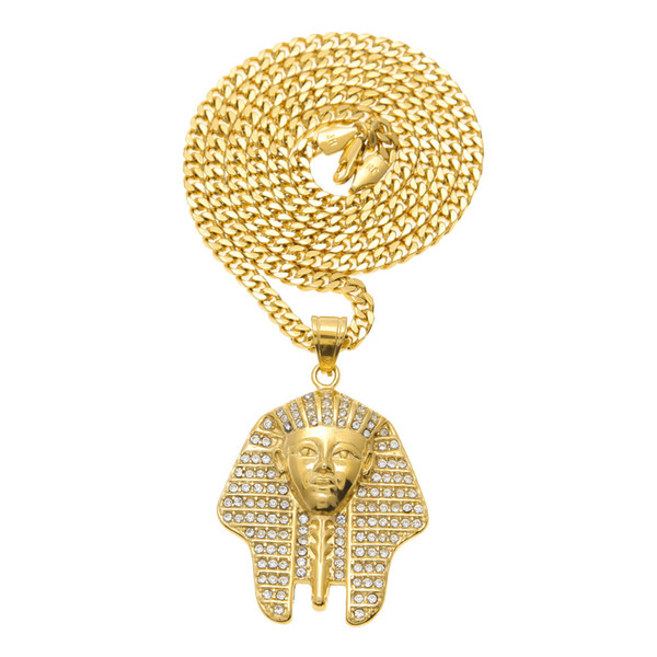 Hip Hop Tutankhamun Gold Egypt Pharaohs Necklaces Pendants New Fashion Jewelry For Men Long Chain Necklace