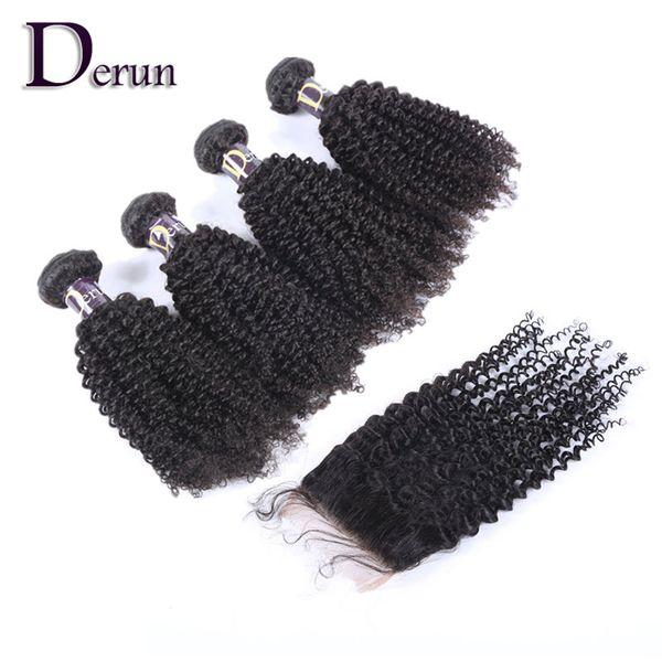 Reine Haarverlängerung Hohe Qualität Top Verschluss 4 stücke + 1 stück Verworrene Lockige Remy Haare Peruanisches Menschenhaar Mit Verschluss Haarwebart Kann Gefärbt Werden