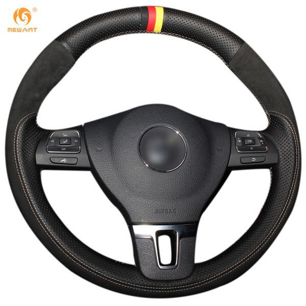 Mewant Black Genuine Leather Black Suede Steering Wheel Cover for Volkswagen VW Gol Tiguan Passat B7 Passat CC Jetta Mk6 Touran