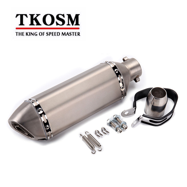 TKOSM Universal 51mm Akrapovic ALUMINUM Motorcycle Exhaust pipe GY6 Modified Scooter Exhaust Muffler for HONDA R6 R1 FZ6 Z1000 GSXR