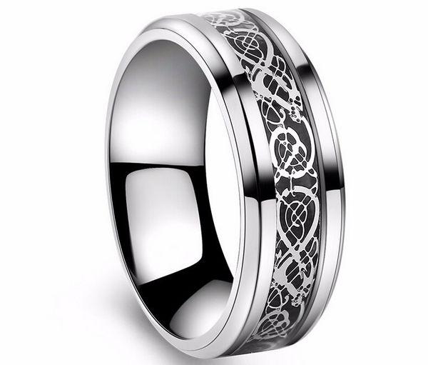 San Valentino Vintage Vintage acciaio al tungsteno bianco Anello d'oro per gli uomini signore Titanium anelli di nozze Band nuovi gioielli anello punk