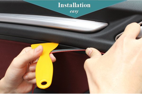Wholesale Easy Install Diy Design Shine Strip For Car Interior Decoration Pvc Car Bright Wisp Line Popular Metallic Sliver Gold Red Blue Decorate