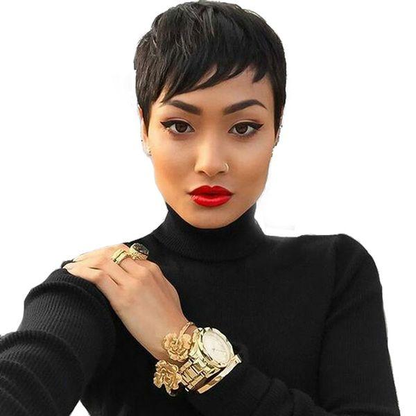Высококачественные передние кружевные передние человеческие шикарные парики для стрижки волос 100% необработанные станки без клеевого рианна короткие парики для чернокожих женщин