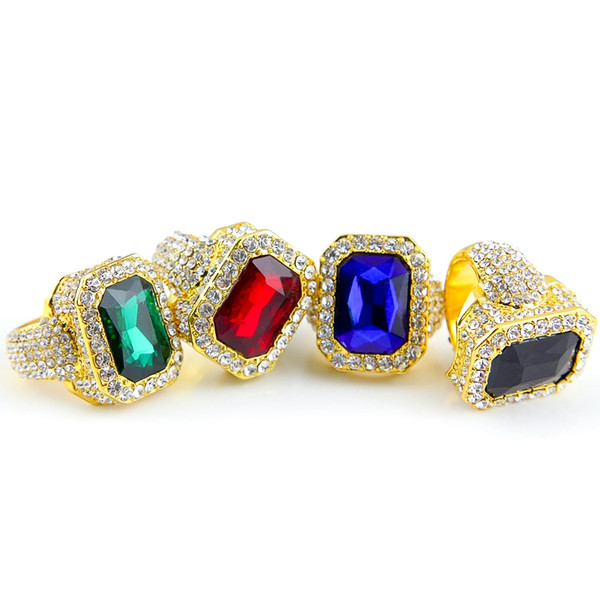 High quality Men's large ruby sapphire Rings White Rhinestones 5 colors gem stone Gold Rings For women&ladies Hip Hop Jewelry