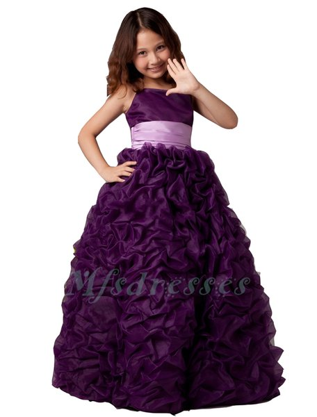 2017 Purple Ruffules Flower Girl Dresses with Sash Ball Gown Organza Girls First Communion Dress Girls Christmas Birthday Party Dresses