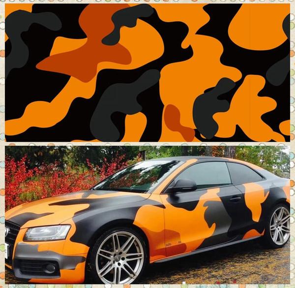 Grands autocollants graphiques en aluminium de camouflage de film de camouflage plein orange de voiture de Camo avec la feuille de camouflage de camion de Camo avec la taille exempte d'air 1.52 x 30m / Roll