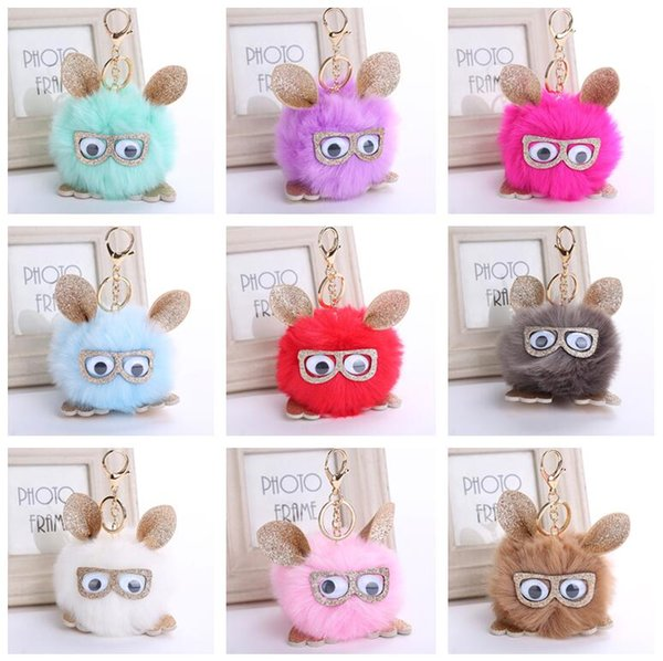 Brand new Retro personality owl pendant hair ball key ring PU leather pendant KR360 Keychains mix order 20 pieces a lot