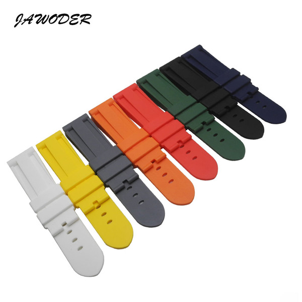 JAWODER Watchband Man 24mm Black White Red Orange Blue Gray Green Yellow Silicone Rubber Diver Watch Band Strap Without Buckle
