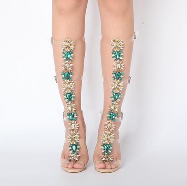 2017 yeni varış kadın yaz sandalet botlar rhinestone saplama sandalet patik seksi yüksek topuklu düğün ayakkabı burnu açık glitter parti ayakkab ...