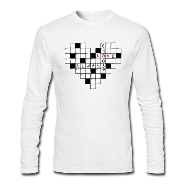 new style 88045 48e4e Acquista Cruciverba Mens Stampa T Shirt Ragazzi Creativi Progettato  Magliette Maniche Lunghe Maglieria Di Alta Qualità In Tessuto Maschile  Scegliere ...