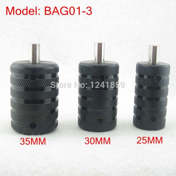 Toptan Satış - Toptan-3pcs Dövme Makinesi Power Kit Seti Kaynağı BAG01-3 # Back Stem ile Tırtıklı Siyah Alüminyum Dövme Grip Tüp