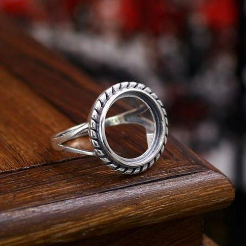 Fine Silver 14.8x14.8mm Round Cabochon Semi Mount Women Engagement Ring 925 Sterling Silver Art Deco Jewelry Setting