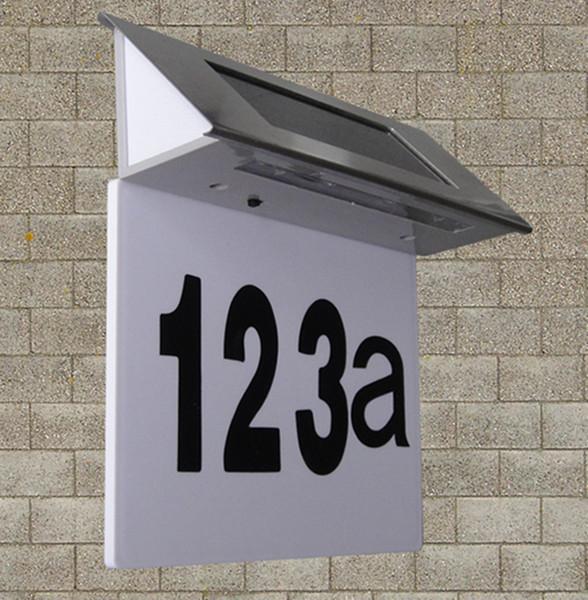 Vente en gros- 4 LED lampes solaires en acier inoxydable à lumière dirigée lampe de panneau d'affichage de la maison numéro silicium amorphe