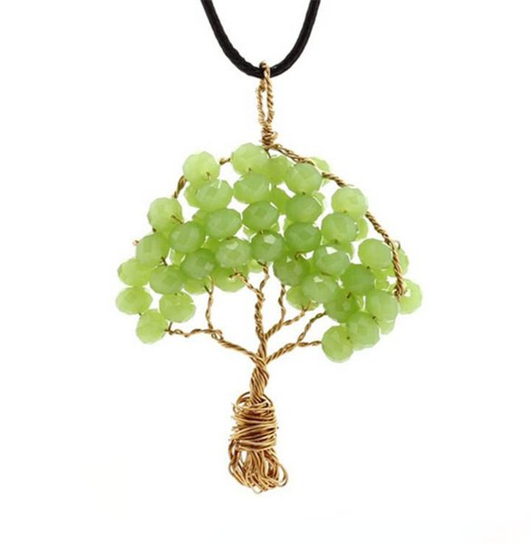 2017 Creative Wire Wrapped Copper Tree Of Life Pendant Necklace Crystal Beads Wisdom Tree Necklaces Women Jewelry Pure Handmade