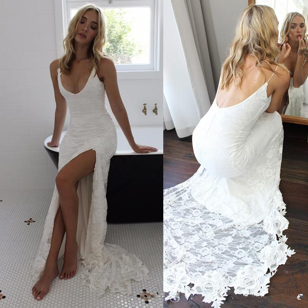best selling Sexy Style Casual Beach Wedding Dresses Backless Spaghetti Straps Side Split Long Lace Bridal Gowns Custom Size