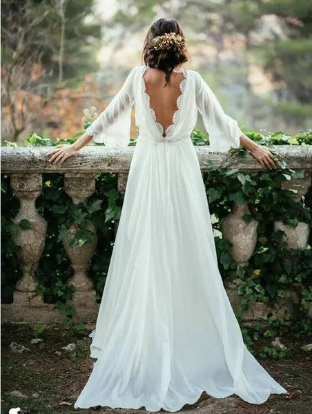 Sexy Ivory Lace 3/4 Long Sleeve Backless Bohemian Wedding Dresses 2017 Summer Court Train Ruched Chiffon Plus Size Beach Bridal Gowns