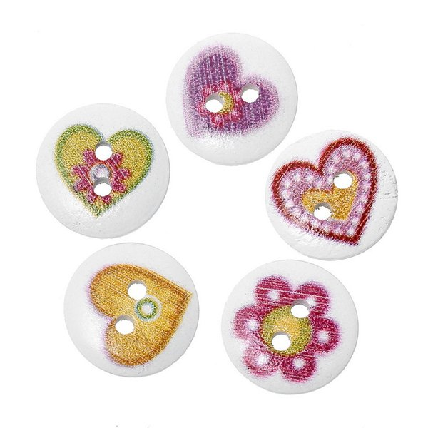 Toptan Acces Üreticileri tedarik altı çiçek karikatür düğmeler yuvarlak ahşap düğmeler 15mm düğme dikiş 24L 100 adet Ahşap düğmeler oyuncaklar
