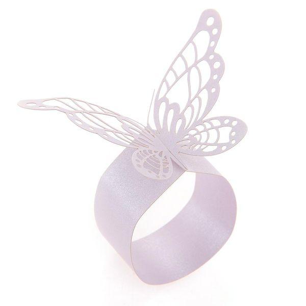 Wholesale- 50x Paper Napkin Ring Holder Laser Cut Butterfly Wedding Decor Light Purple New Wedding Decoration