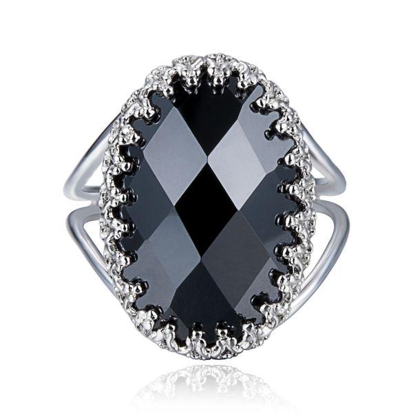 Fashion Gorgeous Black Simulation Onyx Stone 925 Sterling Silver Ring Beauty Women Jewelry Size 6 7 8