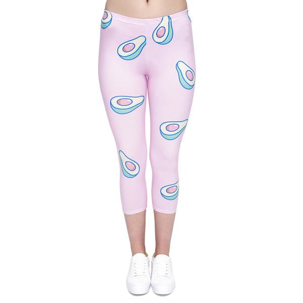 Girl Capri Leggings Avocado Pink 3D Graphic Print Women Yoga Wear Capri Pants Lady Soft Cropped Trousers Stretch Sports Seven Socks (J45770)