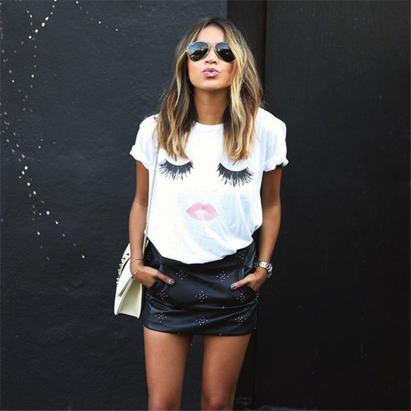 best selling Girls Women T-shirts Eyelash Lipstick Mouth Tops Short Sleeve Summer Printed Loose Fashion Clothing Mother and Children