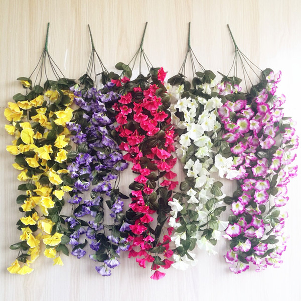 One Morning Glory Vine Vines Colgantes Flor para Boda Artificial Decorativo Colgante de Pared Flor 5 Colores