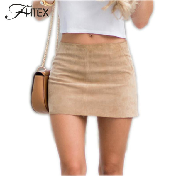 2017 Hot Women Faux Leather Mini Skirt Womens Fashion Leather Suede Pencil Skirt Zipper Split Bodycon Sexy Summer Short Skirts 17409