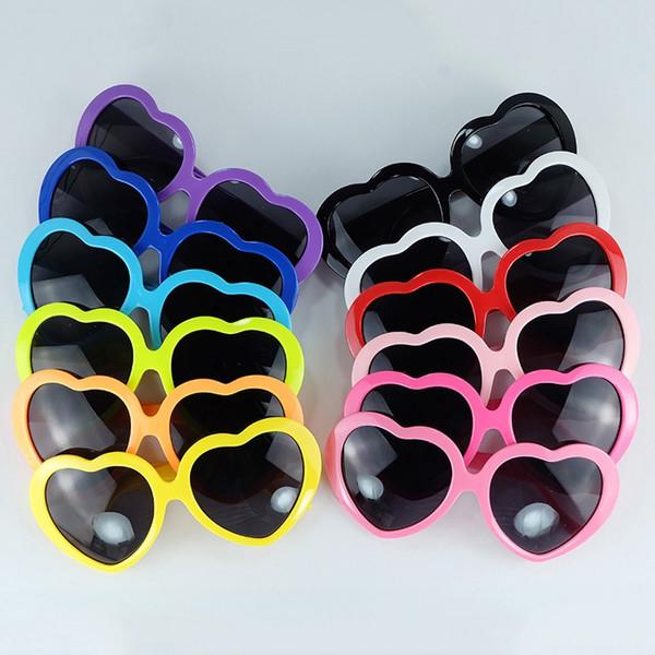 top popular 13 Colors Fashion Love Heart Shape Multicolor Sunglasses Plastic Party Glasses Frame UV400 Cheap Sun Glasses 2019