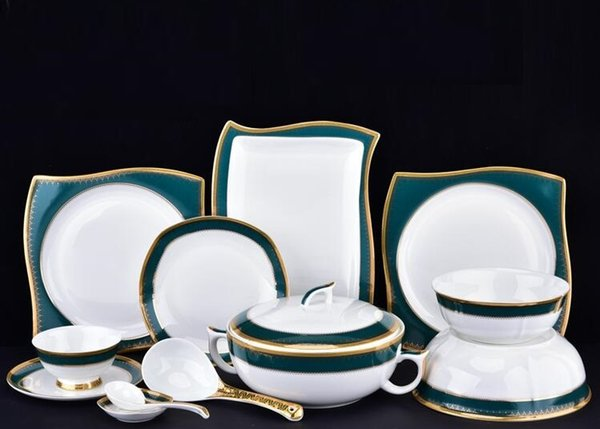 Bone china Western style tableware porcelain plates bowls spoon gilt trim dinnerware square plates sets luxury & Bone China Western Style Tableware Porcelain Plates Bowls Spoon Gilt ...