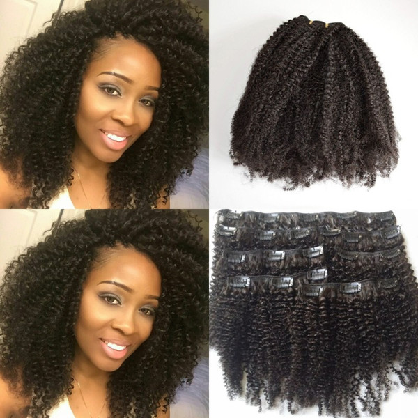 "top popular Afro Kinky Curly Clip In Human Hair Extensions Mongolian Human Hair African American Clip In Extensions 8""-22"" Clip Ins G-EASY Hair 2019"