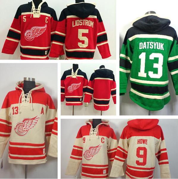 ... Old Time Hockey Cream Hoodie Cheap Mens Detroit Red wings Hoodies 13  Pavel Datsyuk 5 Nicklas Lidstrom Sweatshirts Stitched Authentic ... 981d47cf2