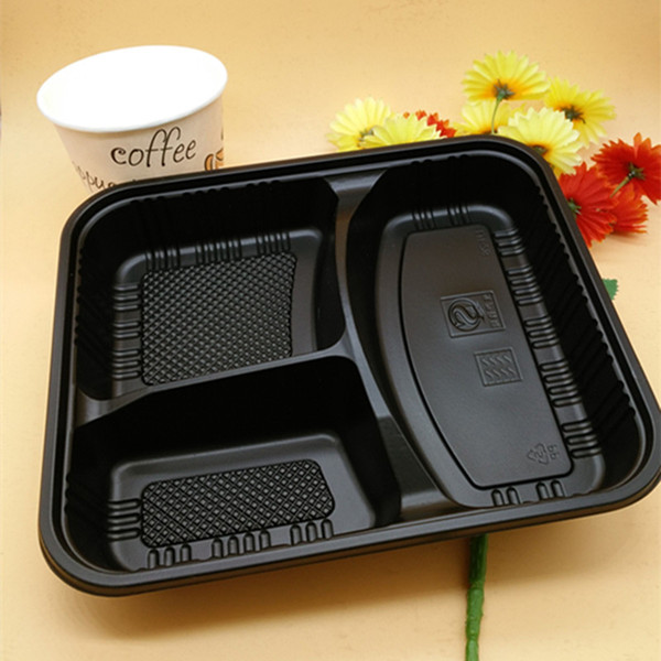 top popular Fedex send Disposable BPA free Food Containers with Lids Bento Box Lunch Tray with Cover 3 Compartment safe LUNCH BOX BPA free 2021