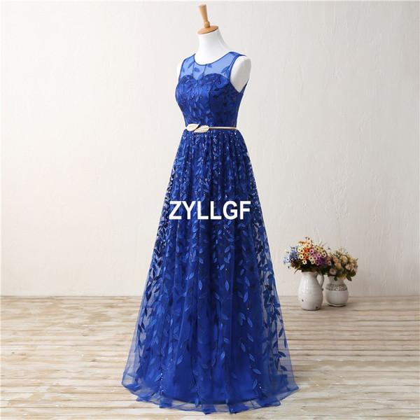 Blue Lace Transparent Flower Pattern Zipper Back Evening Dresses Plus size New Arrival Hot Sales Formal Gown Robe De Soiree