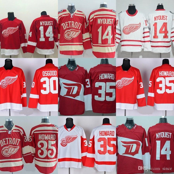 6f84a7422 Factory Outlet Men S Detroit Red Wings  14 Gustav Nyquist  30 Osgood  35  Jimmy Howard Red White Best Quality Ice Hockey Jerseys Free Shippin UK 2019  From ...