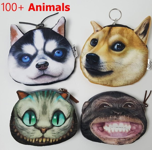 Wholesale- Coin Purse 2016 Full Catalog animal 3D printed pattern New unusual dog purse factory wholesale Pug fabric pouch children's pur