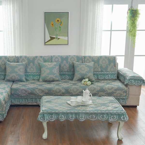 Unique Green Sofa Pillow Couch Cushion Sofa Cover Slipcovers Pastoral Style  Furniture Protector Mat Carpet Blanket Cotton Four Seasons Chair Sash ...
