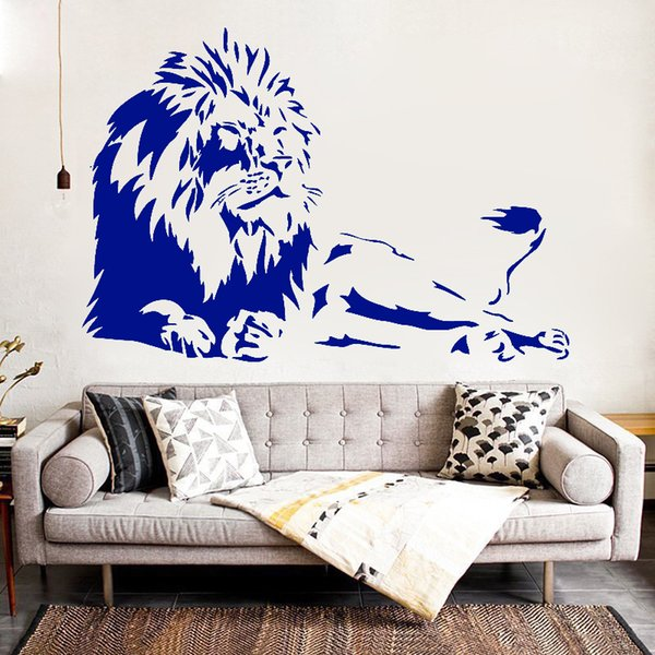 Animal lion relaxing lovely inspiring wall stickers customerized lovely decoration sofa glass cabnet stickers home decal decor gift