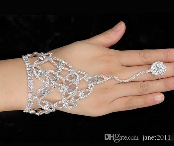 Bridal Finger Ring Hand Bracelets Wedding Women Jewelry Rhinestone Finger Ring Hand Harness Hand Harness Bangle