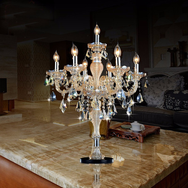 TV background sofa corner sample house crystal table lamp European style crystal light living room lamp bedroom study bedside table lamps