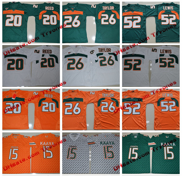 2017 Miami Hurricanes Collegio maglie 15 Brad Kaaya 26 Sean Taylor 52 Ray Lewis 20 Ed Reed cucita Jersey