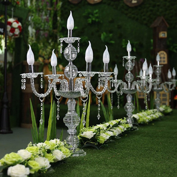 55CM to 100cm Height Upscal Table Centerpiece Acrylic Crystal Wedding Candelabras Candle Holder Wedding Aisle Road Leads Props