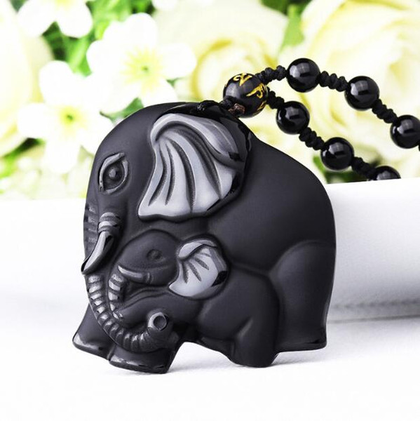 DJ Jewelry Chinese Handwork Natural Black Obsidian Carved Mother Baby Cute Elephant Amulet Lucky Pendant Necklace Fashion Jewelry