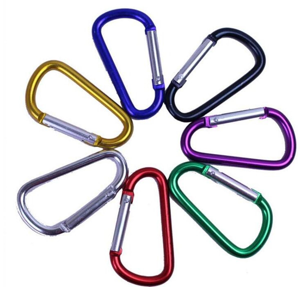 Carabiner Ring Keyrings Key Chains Outdoor Sports Camp Snap Clip Hook Keychain Hiking Aluminum Metal Convenient Hiking Camping Clip On