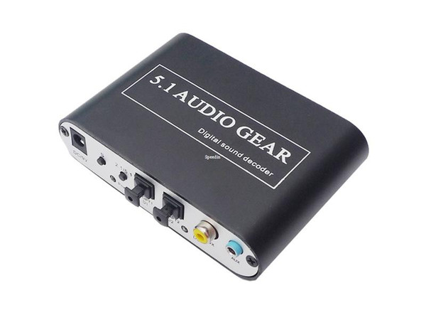 Freeshipping DTS Digital Audio Decoder 5.1 Audio DTS/AC-3/6CH Digital Audio converter LPCM To 5.1 Analog Output 2.1 DVD PC + Optical able