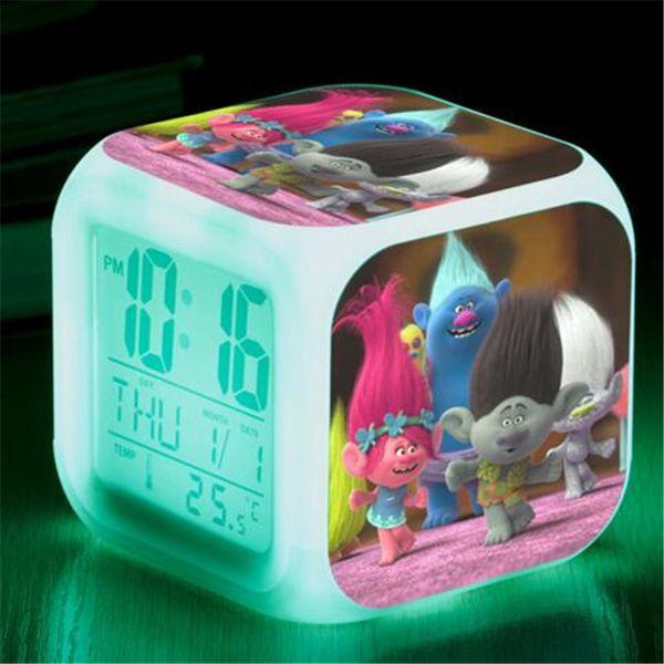 DHL Led Alarm Clock Trolls Glowing Digital Clock Cartoon Movie LED 7Colors Change Digital Alarm Baby Children Night Gift Lamp Table Clock