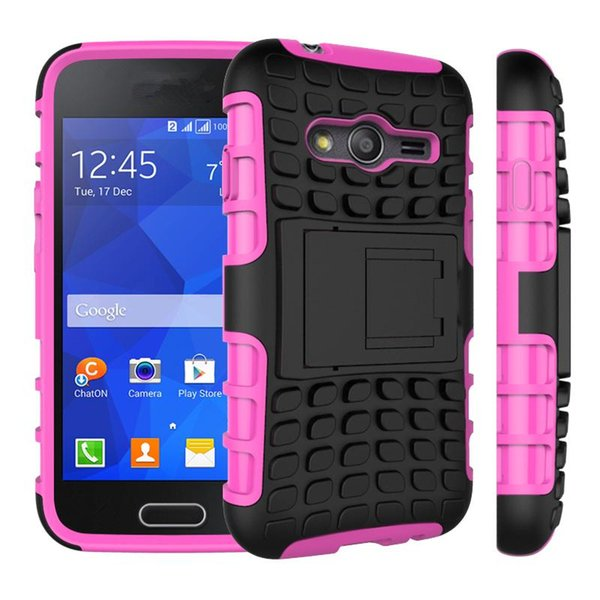 Hot For Samsung Galaxy Ace 4 NXT/G313 Phone Case 2in1 Dual Layer Kickstand Heavy Duty Armor Shockproof Hybrid Silicone Back Case