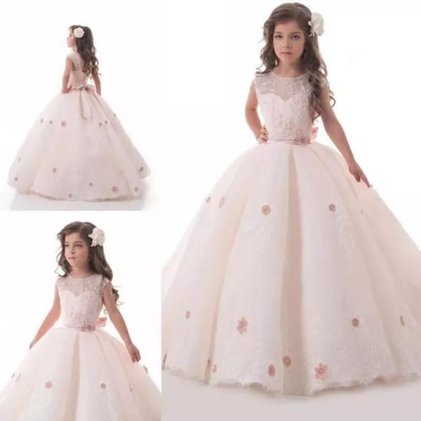 Princesse rose pâle Les robes d'une fille de fleur en ligne Sheer Neck Lace Appliqued Flowers Filles Pageant robes Custom Made robes de première communion