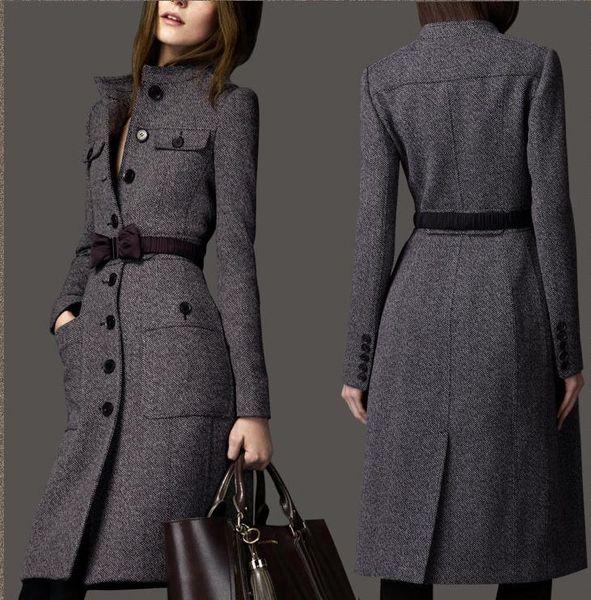 hot Wholesale-2017 european fashion women designer winter cashmere trench coat wool ladies maxi long outerwear bow tie belt grey